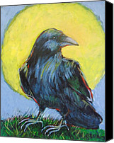 Crow Painting Canvas Prints - New Raven Full Moon Canvas Print by Carol Suzanne Niebuhr