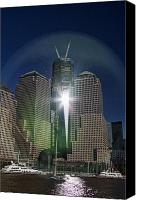 Patriotism Photo Canvas Prints - New World Trade Center Canvas Print by David Smith