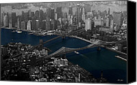 Selective Color Mixed Media Canvas Prints - New York Aerial Canvas Print by Ms Judi