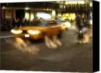 Unique Art. Photo Canvas Prints - New York Cab Canvas Print by Oliver Johnston