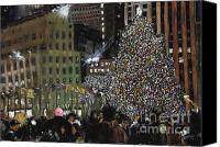 Manhattan Pastels Canvas Prints - New York Christmas Rockefeller Center Canvas Print by Barry Rothstein