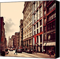 Street Canvas Prints - New York City - Cloudy Day on Broadway Canvas Print by Vivienne Gucwa