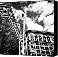 Nyc Canvas Prints - New York City - Empire State Building and Clouds Canvas Print by Vivienne Gucwa