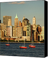 Water Special Promotions - New York City Boats Canvas Print by Alexander Mendoza
