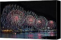 4th July Canvas Prints - New York City Celebrates the 4th Canvas Print by Susan Candelario