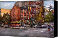 City Streets Canvas Prints - New York - City - Corner of One way and This way Canvas Print by Mike Savad