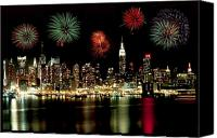 Nyc Canvas Prints - New York City Fourth of July Canvas Print by Anthony Sacco