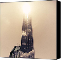 Nyc Canvas Prints - New York City Glimmers and Reflections Canvas Print by Vivienne Gucwa