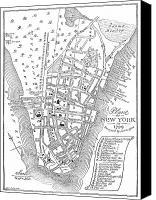 Manhattan Map Canvas Prints - New York City Map, 1729 Canvas Print by Granger