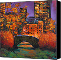 Purples Canvas Prints - New York City Night Autumn Canvas Print by Johnathan Harris