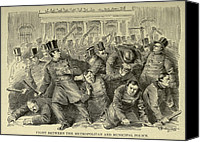 New York City Police Canvas Prints - New York City Police Riot Of 1857. Riot Canvas Print by Everett