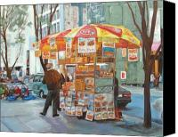Vendor Painting Canvas Prints - New York City Red Hots Canvas Print by Ann Caudle