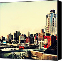 Street Canvas Prints - New York City Rooftops Canvas Print by Vivienne Gucwa