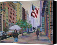 American Flag Pastels Canvas Prints - New York City Sidewalk Canvas Print by Marion Derrett