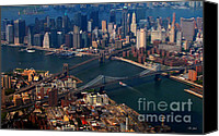 City Island Mixed Media Canvas Prints - New York City Sky View 2 Canvas Print by Ms Judi