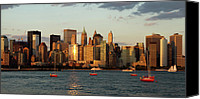 Water Special Promotions - New York City Skyline at Sunset Canvas Print by Alexander Mendoza