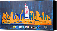 Transportation Mixed Media Canvas Prints - New York City Skyline License Plate Art Canvas Print by Design Turnpike