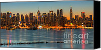 Manhattan Canvas Prints - New York City Skyline Morning Twilight IX Canvas Print by Clarence Holmes