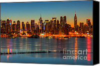 Empire Photo Canvas Prints - New York City Skyline Morning Twilight V Canvas Print by Clarence Holmes
