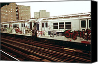 Public Transportation Canvas Prints - New York City Subway. A Graffiti Canvas Print by Everett