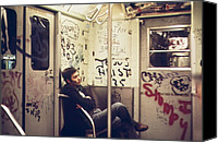 Public Transportation Canvas Prints - New York City Subway. A Lone Passenger Canvas Print by Everett