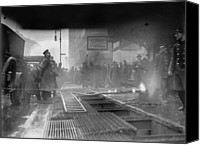 New York City Police Canvas Prints - New York City Subway Fire, Breaking Canvas Print by Everett