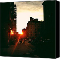 Street Canvas Prints - New York City Sunset Canvas Print by Vivienne Gucwa