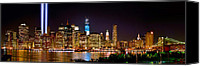 Brooklyn Bridge Canvas Prints - New York City Tribute in Lights and Lower Manhattan at Night NYC Canvas Print by Jon Holiday