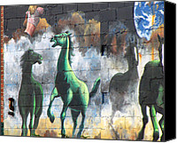 Horses Mixed Media Canvas Prints - New York City Wall Graffiti  Canvas Print by Ms Judi