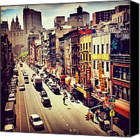 Street Canvas Prints - New York Citys Chinatown Canvas Print by Vivienne Gucwa