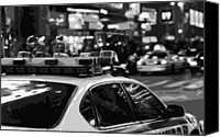 New York City Police Canvas Prints - New York Cop Car BW8 Canvas Print by Scott Kelley