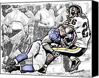 Redskins Canvas Prints - New York Giants Justin Tuck - Washington Redskins Clinton Portis Canvas Print by Jack Kurzenknabe