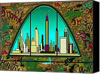 Cities Mixed Media Canvas Prints - New York Graffiti Canvas Print by Peter Art Prints Posters Gallery