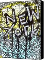 Neo Expressionism Canvas Prints - New York Graffiti Scene Canvas Print by Robert Wolverton Jr