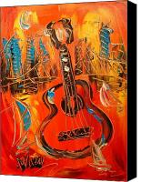 River Framed Prints Painting Canvas Prints - New York Guitar Canvas Print by Mark Kazav