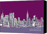 Nyc Drawings Canvas Prints - New York in purple Canvas Print by Lee-Ann Adendorff