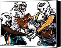 Miami Dolphins Canvas Prints - New York Jets David Harris and Eric Smith - Miami Dolphins Lex Hilliard and Reggie Bush Canvas Print by Jack Kurzenknabe