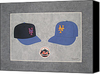 Mlb Painting Canvas Prints - New York Mets Caps Canvas Print by Herb Strobino