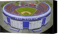 Shea Stadium Painting Canvas Prints - New York Mets Canvas Print by David Hinchen