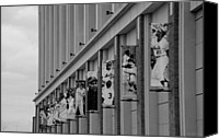 Ballpark Digital Art Canvas Prints - NEW YORK METS of OLD  in BLACK AND WHITE Canvas Print by Rob Hans