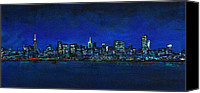 Skylines Painting Canvas Prints - New York New York Canvas Print by Frances Marino