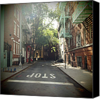 Stop Canvas Prints - New York On Idealic Street Canvas Print by Lori Andrews