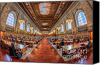 Manhattan Canvas Prints - New York Public Library Main Reading Room I Canvas Print by Clarence Holmes