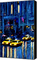 Cities Mixed Media Canvas Prints - New York Rainy Street Canvas Print by Leon Jimenez