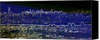 City Scape Digital Art Canvas Prints - New York skyline abstract Canvas Print by Robert Ponzoni