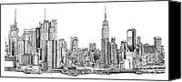 Nyc Drawings Canvas Prints - New York skyline in Ink Canvas Print by Lee-Ann Adendorff