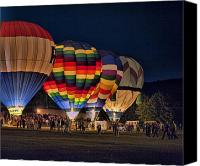 Hot Air Balloons Canvas Prints - New York State Festival of Balloons GLOW Canvas Print by Joe Granita