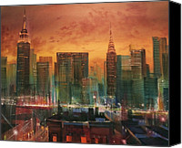 New York Skyline Canvas Prints - New York the Emerald City Canvas Print by Tom Shropshire