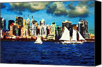 Expressionism Pastels Canvas Prints - New York Yacht Club Canvas Print by Stefan Kuhn