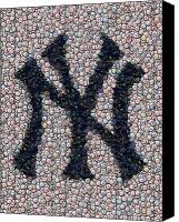 Bottle Caps Canvas Prints - New York Yankees Bottle Cap Mosaic Canvas Print by Paul Van Scott
